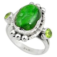 Natural green chrome diopside peridot 925 silver ring size 8 p79003