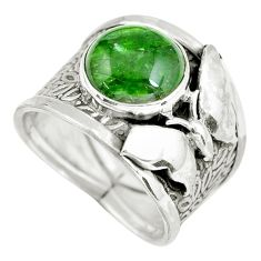 Clearance Sale- Natural green chrome diopside silver butterfly solitaire ring size 7.5 d32199