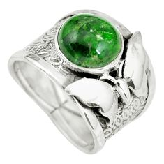 Clearance Sale- Natural green chrome diopside silver butterfly solitaire ring size 7.5 d32200