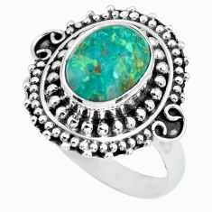 4.34cts natural green chrysocolla 925 silver solitaire ring size 9 p63041