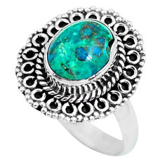 4.10cts natural green chrysocolla 925 silver solitaire ring size 8.5 p63042