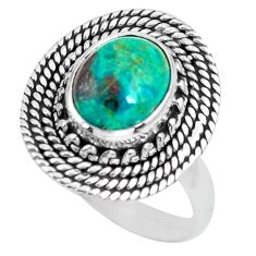 4.20cts natural green chrysocolla 925 silver solitaire ring size 8 p63045
