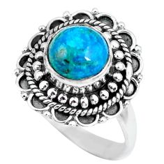 3.44cts natural green chrysocolla 925 silver solitaire ring size 7 p63051
