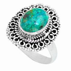4.02cts natural green chrysocolla 925 silver solitaire ring size 7 p63053