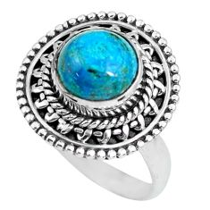 3.13cts natural green chrysocolla 925 silver solitaire ring size 7 p63054