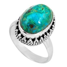 6.62cts natural green chrysocolla 925 silver solitaire ring size 8 p67546