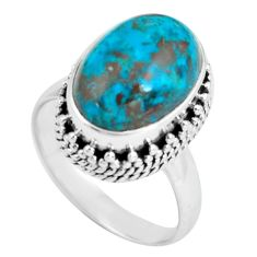 6.63cts natural green chrysocolla 925 silver solitaire ring size 7 p67553
