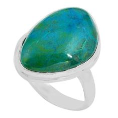 14.40cts natural green chrysocolla 925 silver solitaire ring size 8.5 p80771