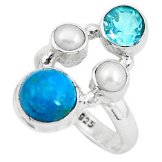 6.84cts natural green chrysocolla topaz 925 sterling silver ring size 6.5 p52423