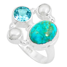 7.40cts natural green chrysocolla topaz 925 sterling silver ring size 7 p52425