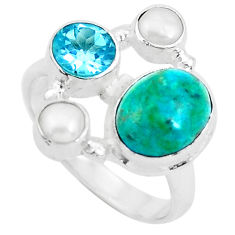 7.12cts natural green chrysocolla topaz 925 sterling silver ring size 8 p52426