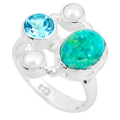 7.12cts natural green chrysocolla topaz 925 sterling silver ring size 7.5 p52429