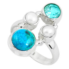 7.11cts natural green chrysocolla topaz 925 sterling silver ring size 7 p52431