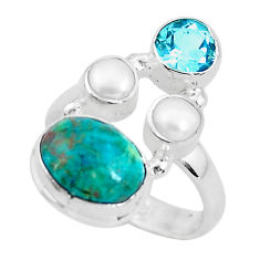 7.12cts natural green chrysocolla topaz 925 sterling silver ring size 6.5 p52435