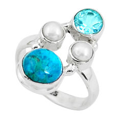 6.53cts natural green chrysocolla topaz 925 sterling silver ring size 7 p52438