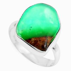 10.79cts natural green chrysoprase 925 silver solitaire ring size 7.5 p44321