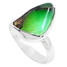 8.56cts natural green chrysoprase 925 silver solitaire ring size 7 p44322