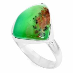 10.29cts natural green chrysoprase 925 silver solitaire ring size 9 p44326