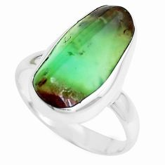8.12cts natural green chrysoprase 925 silver solitaire ring size 8 p44328