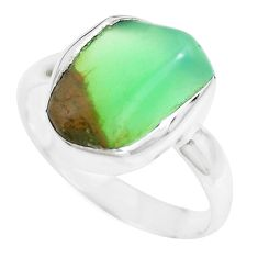 7.56cts natural green chrysoprase 925 silver solitaire ring size 8 p44330