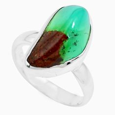 9.16cts natural green chrysoprase 925 silver solitaire ring size 7 p44331