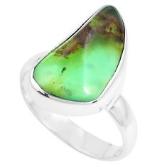 8.75cts natural green chrysoprase 925 silver solitaire ring size 7 p44332