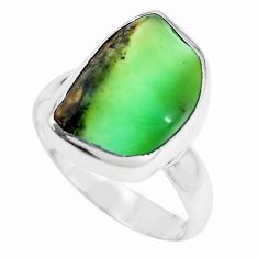 8.24cts natural green chrysoprase 925 silver solitaire ring size 6 p44334