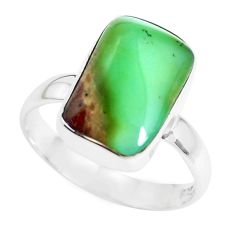 8.73cts natural green chrysoprase 925 silver solitaire ring size 8 p44335