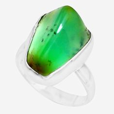 9.61cts natural green chrysoprase 925 silver solitaire ring size 7 p44336