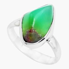 8.32cts natural green chrysoprase 925 silver solitaire ring size 8 p44338