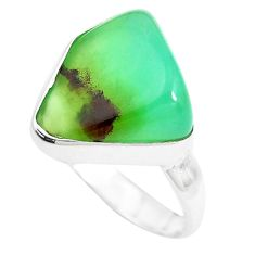 9.61cts natural green chrysoprase 925 silver solitaire ring size 7 p44339