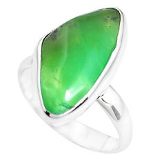 8.73cts natural green chrysoprase 925 silver solitaire ring size 7 p44340