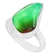 8.06cts natural green chrysoprase tourmaline rough 925 silver ring size 6 p44398