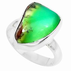 7.24cts natural green chrysoprase tourmaline rough 925 silver ring size 6 p44399