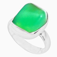 Natural green chrysoprase tourmaline rough silver ring jewelry size 6 p44395