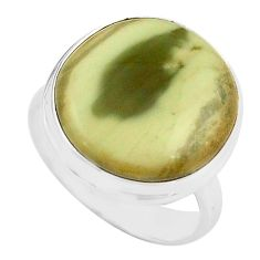 13.27cts natural green imperial jasper 925 silver solitaire ring size 7.5 p80797