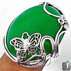 49.56cts NATURAL GREEN JADE 925 STERLING SILVER BUTTERFLY RING SIZE 9 F9980