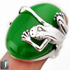50.72cts NATURAL GREEN JADE 925 STERLING SILVER FROG RING JEWELRY SIZE 8 F9968