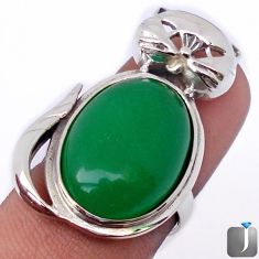 NATURAL GREEN JADE TOPAZ 925 STERLING SILVER CAT RING JEWELRY SIZE 9 G38100