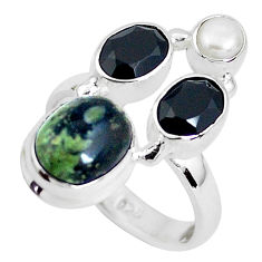 7.83cts natural green kambaba jasper (stromatolites) silver ring size 7 p52736