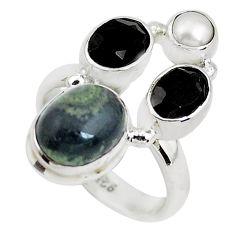 7.66cts natural green kambaba jasper (stromatolites) silver ring size 6.5 p52740