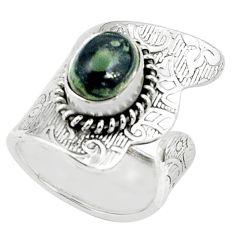 4.71cts natural green kambaba jasper 925 silver adjustable ring size 6.5 p57031