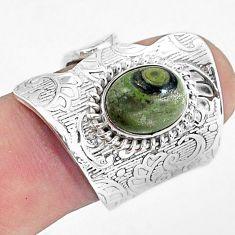 3.91cts natural green kambaba jasper 925 silver adjustable ring size 7.5 p57040
