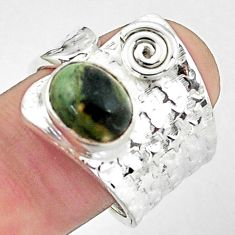 4.71cts natural green kambaba jasper 925 silver adjustable ring size 8 p57062