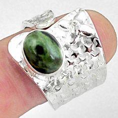 4.21cts natural green kambaba jasper 925 silver adjustable ring size 8 p57075