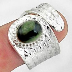 4.07cts natural green kambaba jasper 925 silver adjustable ring size 8 p57181