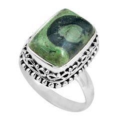 6.96cts natural green kambaba jasper 925 silver solitaire ring size 7.5 p67522