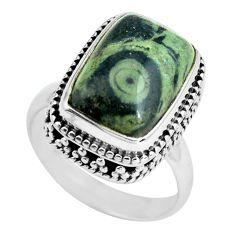 6.76cts natural green kambaba jasper 925 silver solitaire ring size 6.5 p67523