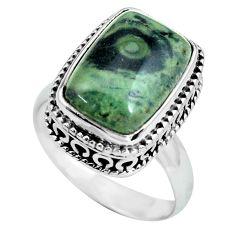 6.76cts natural green kambaba jasper 925 silver solitaire ring size 7.5 p67525