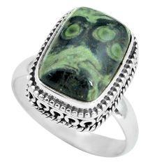 6.76cts natural green kambaba jasper 925 silver solitaire ring size 8.5 p67526